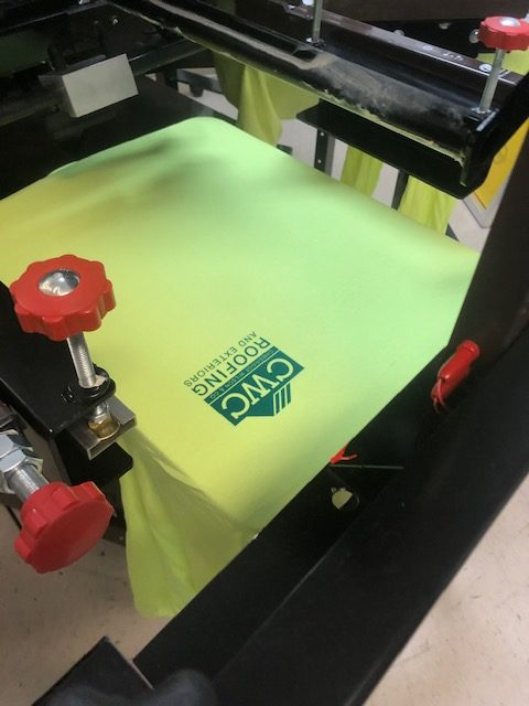 CWC Roofing screen printing t-shirt logo